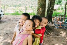 young children hugging