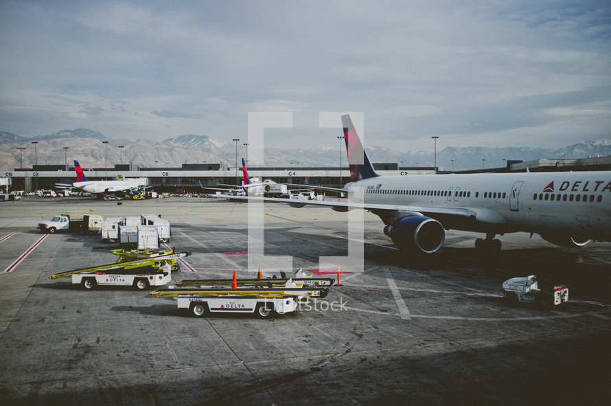 Planes on the tarmac at an airport
