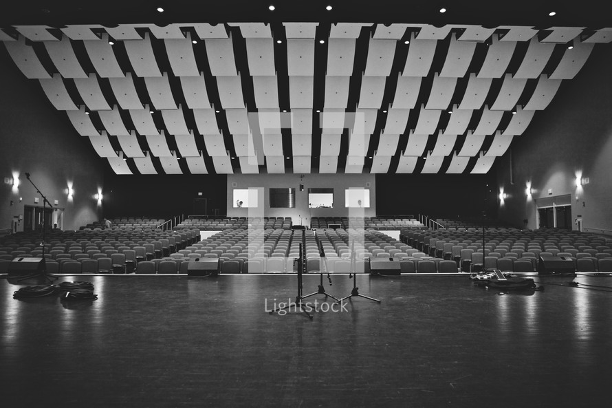 empty stage before a concert