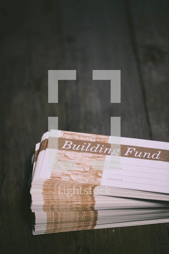 Building fund envelopes