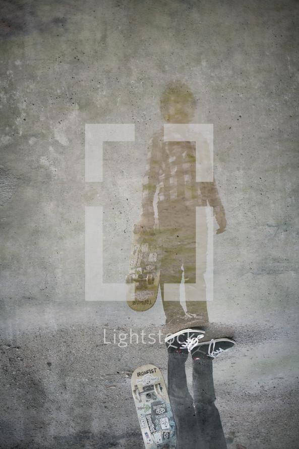 A reflection of a teenage boy
