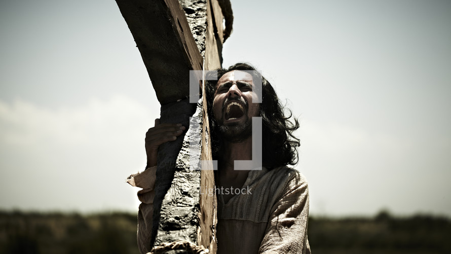 Jesus carrying the cross and crying out