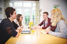 teens discussing scripture at a Bible study