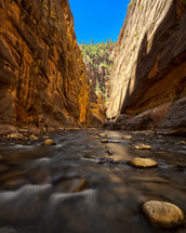 Stream in The Narrows, formed by the Virgin River in Zion Canyon National Park of Utah.