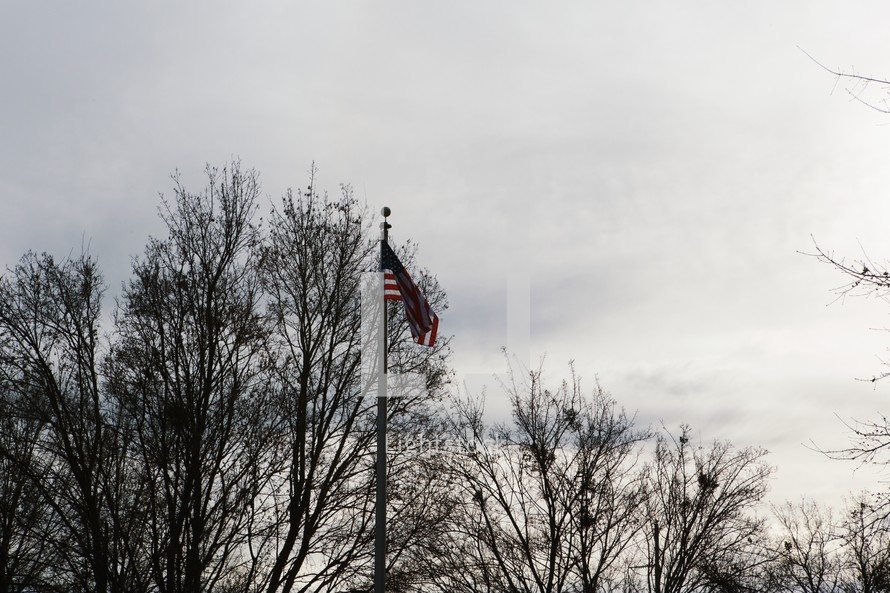 An American flag on a flag pole.