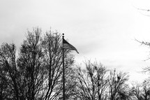 An American flag on a flag pole.