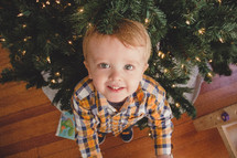 toddler boy under a Christmas tree