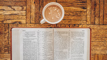 hot cocoa and open Bible