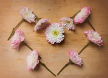 Flowers placed in the shape of a heart.