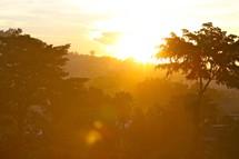 intense sunlight at sunrise