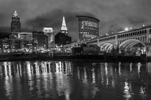 Cleveland skyline at night