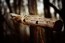 wood cross in a forest