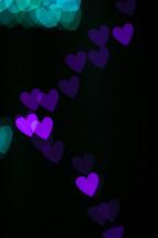 bokeh purple hearts