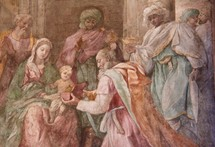 Painting of the Magi visiting the Baby Jesus