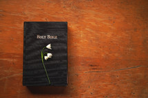 flowers on a Bible cover