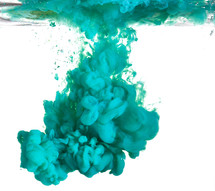 teal green paint in water