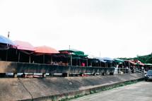 umbrellas over an outdoor market