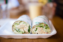 Chicken salad wrap sandwiches.