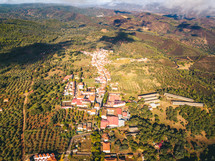 aerial view over a rural community