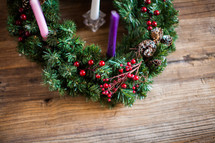 Advent wreath on a wood table