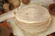 stacked flour tortillas