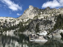 rugged mountains and lake view