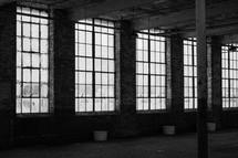 sunlight through windows in a warehouse