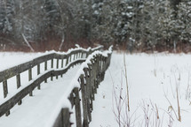 footbridge covered in snow