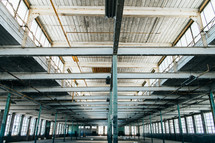 ceiling of an empty warehouse building