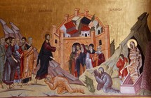 Painting of Jesus, raising Lazarus from the dead. Podgorica Orthodox Cathedral, Montenegro.