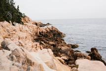 rugged cliffs along a shore
