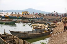 boats parked along a beach  in Uganda