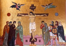 Painting of the crucification of Christ. Podgorica Orthodox Cathedral, Montenegro.