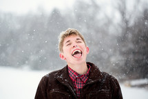 catching snowflakes on the tongue
