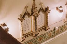 Bible verses on a church wall