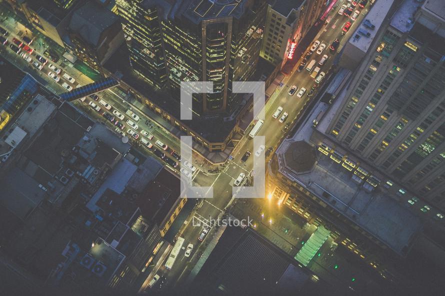 looking down at city streets below