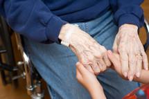 holding hands in prayer