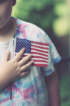 toddler boy holding an American flag