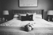 newborn on a bed