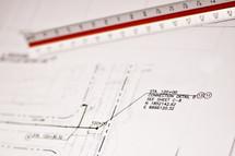 blueprints, keyboard, ruler, scale, construction, design, build