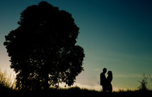 silhouette of a couple at dusk embracing next to a tree