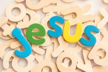 Jesus in wood letters