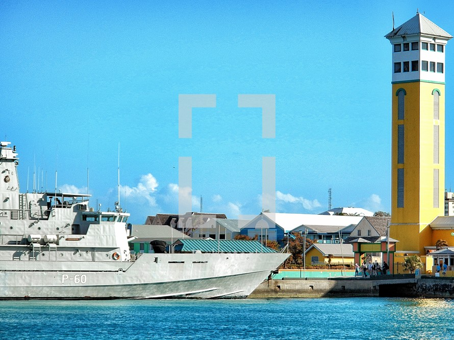 Navy ship in a harbor