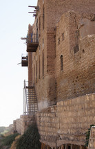 Small balconies on the permitter wall. Erbil, longest, continually inhabited city in the world, Kurdistan, Iraq