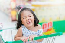 a little girl in a shopping cart