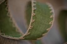 green linen ribbon
