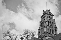 A famous and beautiful gingerbread style historical courthouse clock tower in the city of Waxahachie, Texas, Ellis County.