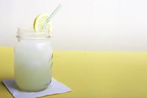 glass of lemonade on a napkin