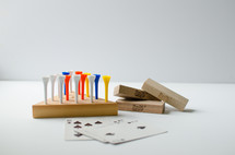 peg game and playing cards
