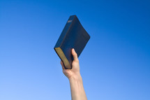 hand holding a Bible in the air